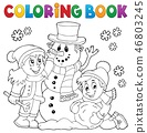 Coloring book kids building snowman 1 46803245