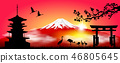 Mount Fuji in the morning at sunrise 46805645