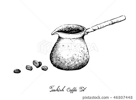 Hand Drawn of Traditional Turkish Coffee Pot 46807448