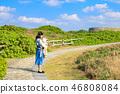 일본 오키나와 잔파곶 잔파공원 산책로의 엄마와 아기 46808084
