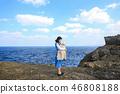 일본 오키나와 잔파곶 해안절벽 위 엄마와 아기 46808188