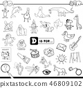 D is for educational game coloring book 46809102