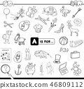 A is for educational game coloring book 46809112