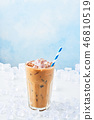 Summer drink ice coffee with cream in a tall glass 46810519