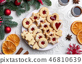 Linzer Christmas cookies arranged on a plate 46810639