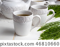 Two cups of horsetail tea with fresh Equisetum 46810660