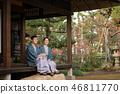 Middle senior couple hot spring travel Yukata Ryokan image 46811770