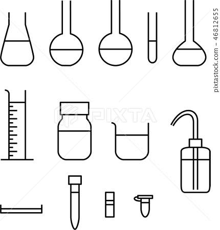 Laboratory equipment set line drawing 46812655