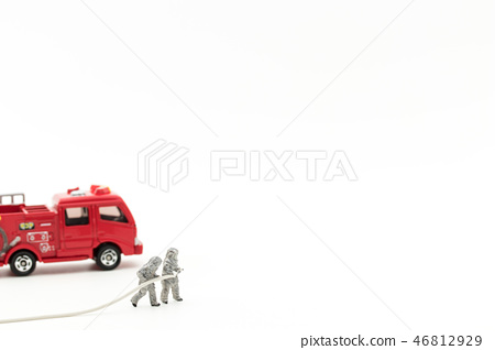 Fire brigade and fire engine: firefighters and fire truck 46812929