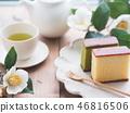 Tea time with Japanese sweet cake 46816506