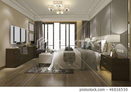 beautiful luxury bedroom suite in hotel with tv 46816530