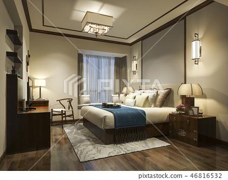 beautiful luxury bedroom suite in hotel with tv 46816532