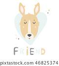 Kangaroo hand drawn face. Vector character. 46825374