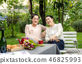 Two middle-aged Asian woman is having fun talking 46825993