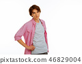 Positive delighted young man wearing casual clothes 46829004