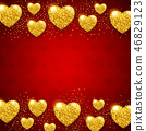 Red Valentine background with golden hearts 46829123