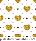 Seamless pattern with golden hearts. 46829124