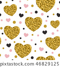 Pattern with golden glitter hearts. 46829125