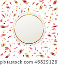 Banner with red and golden confetti 46829129