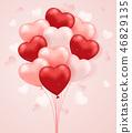 Set of heart shaped balloons. 46829135