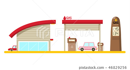 Vector Flat Design Gas Station with Cars Isolated 46829256