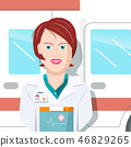 Woman Doctor with Ambulance Car on Background. 46829265