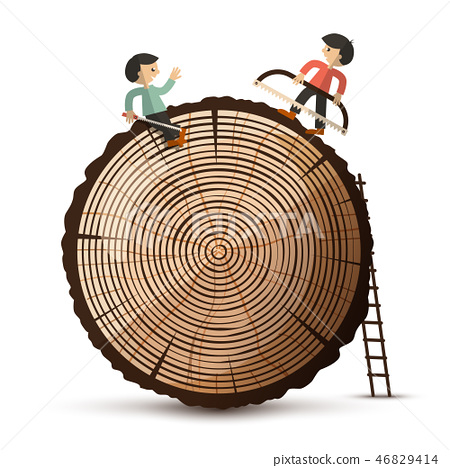 Log with People. Wood Symbol Isolated  46829414