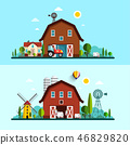 Farm with Barn, Windmill and Cows.  46829820