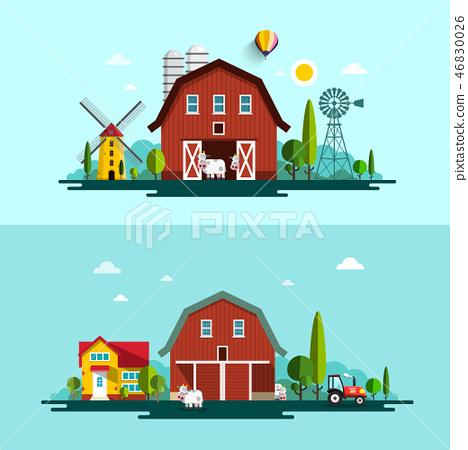 Farm. Vector Flat Design Landscape with Barns 46830026