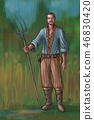 Concept Art Fantasy Illustration of Young Villager, Countryman, Farmer or Village Man With Fork 46830420