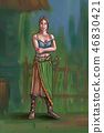 Concept Art Fantasy Illustration of Beautiful Young Village Woman or Villager or Countrywoman 46830421