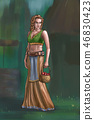 Concept Art Fantasy Illustration of Beautiful Young Blonde Village Woman or Villager or Countrywoman 46830423
