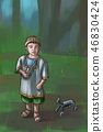 Concept Art Fantasy Illustration of Small Boy With Wooden Toy Horse 46830424