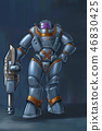 Concept Art Science Fiction Illustration of Futuristic Soldier Character in Heavy Armor or Spacesuit 46830425