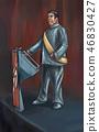 Concept Art Illustration of Dictator Politician Making a Speech on Podium 46830427