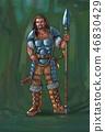 Concept Art Fantasy Illustration of Warrior Hunter With Spear 46830429