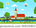 Vector City with Church, River and People in Park 46830863