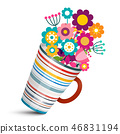 Colorful Flowers in Cup. Vector Illustration. 46831194