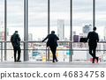 businessman stand on window in Tokyo, Japan 46834758