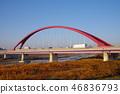 Tama Bridge, illuminated by the morning sun 46836793