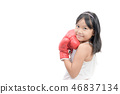 cute girl fighting with red boxing gloves isolated 46837134
