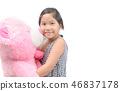 Cute girl hugging big teddy bear isolated 46837178
