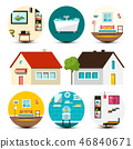 House Icon. Vector Family Houses Set with Interior 46840671