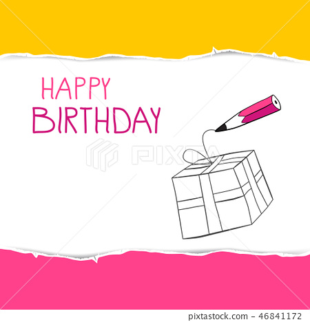 Happy Birthday Card with Gift Bpx on Torn Paper 46841172
