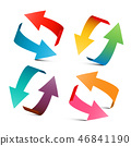 Colorful Arrows Set. Vector 3D Arrow Logo Design. 46841190