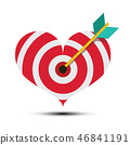 Arrow in Heart Shaped Dart Board. Vector Bullseye 46841191