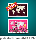 Man and Woman on Bicycles with World Map  46841192