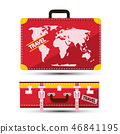 Luggage with World Map. Red Traveling Suitcase. 46841195