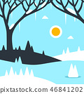 Winter Landscape Vector Flat Design Illustration 46841202