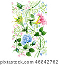Blue and pink floral botanical flower. Watercolor background illustration set. Isolated ornament 46842762